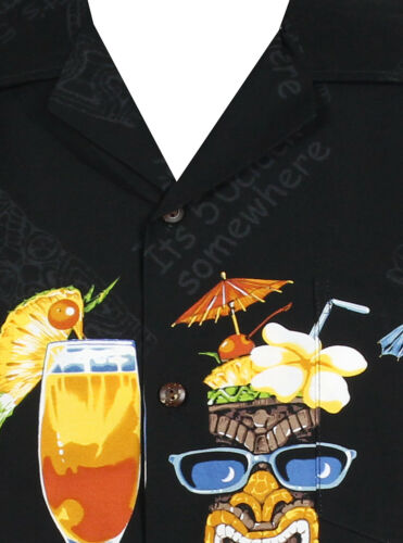 cocktail petto stampa S-XL-disponibilità limitata - Nero PLA ORIGINALE Camicia Hawaii