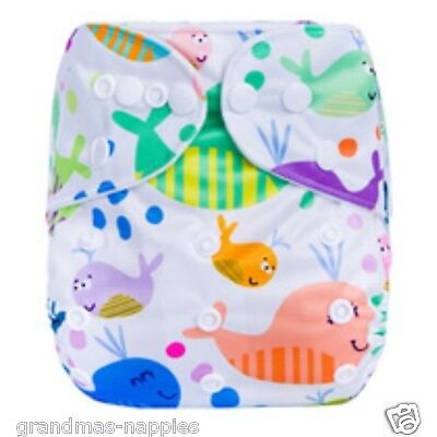 MODERN CLOTH NAPPIES REUSABLE ADJUSTABLE DIAPERS Whales