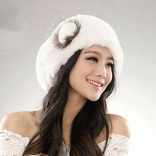 Popular Real Farm Rex Rabbit Fur Hats Fashion Women Rabbit Fur Hat Winter Stock