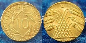 10 Pfennig J.309 1924D Lack Coinage: On 5 Pfennig Schrötling Embossed, 2,6g Prfr