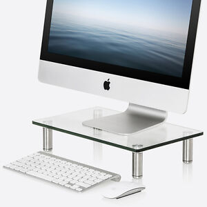 Image Is Loading Clear Glass Laptop Riser Stand Monitor Desktop Shelf