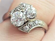 ART DECO Toi et Moi BYPASS Old Mine Cut OEC 1.46TCW 14K DIAMOND RING Engagement
