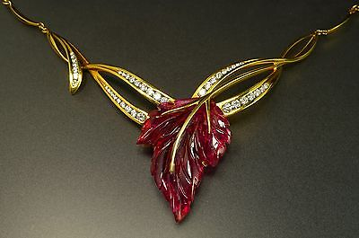 $15000 Carved Pink Tourmaline Diamond 18K Yellow Gold Necklace Earrings Set Cert