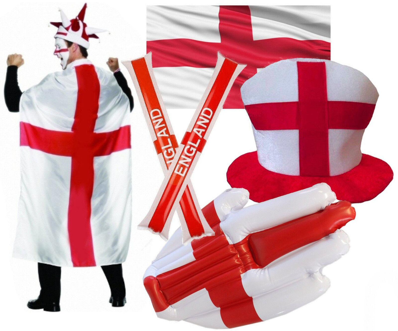 Job Lot 80 x England Rugby 2019 World Cup Fancy Kleid Fahne Hut Cape Hand Baton