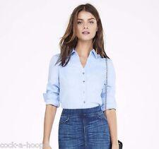 Express Blue Twill Long Sleeve ESSENTIAL Women's 100% Cotton Shirt NWT Size L