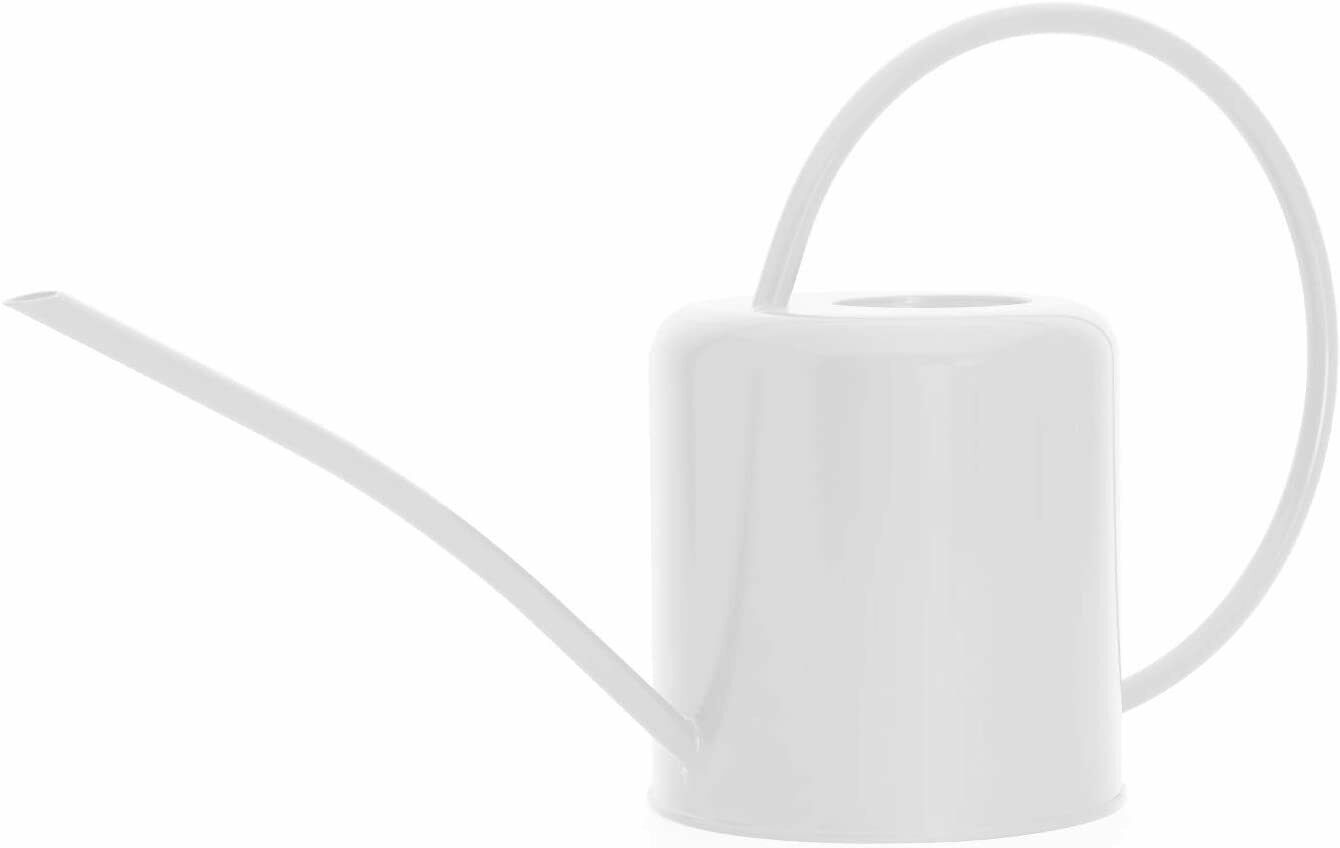Indoor Small White Watering Can Metal Galvanised Steel 1.4L Narrow Spout Plants