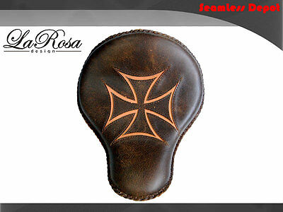 "16"" LaRosa Rustic Brown Leather Tan Iron Cross Harley Cross Bones Solo Seat"