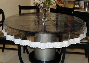Details about Round Tablecloth 4 Seater Lace Border Transparent Dining  Table Cover 60\