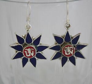 Asian-Jewelry-sterling-silver-earrings-tibetan-coral-handmade-hook-tops-GLE11
