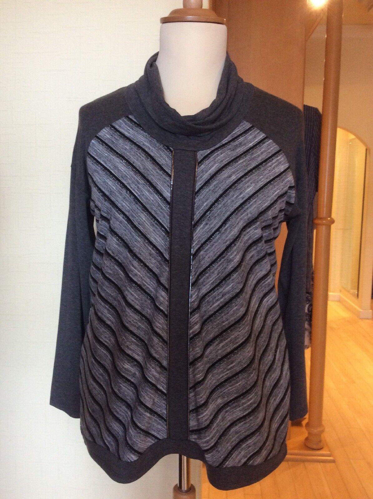 Picadilly Top Größe XL   18 BNWT grau schwarz Cowl Neck RRP  Now