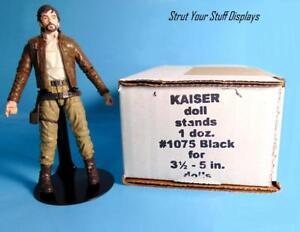 "12 ACTION FIGR STANDS. NEW. Kaiser #1075 BLACK 3.5""-5"" tall dolls MATTEL,MARVEL"