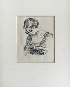 Spring-Drawing-Woman-with-Glasses-Handmade-Signed-1927-Anonymous-30-x-24-cm