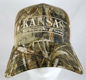 Kansas-University-Jayhawks-Snapback-Hat-The-Game-Realtree-Camo-Bar-Trucker-NWT