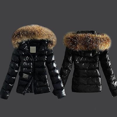 Womens Winter Outerwear Black Ladies Warm Faux Fur Parka Hooded Jacket Coat UK