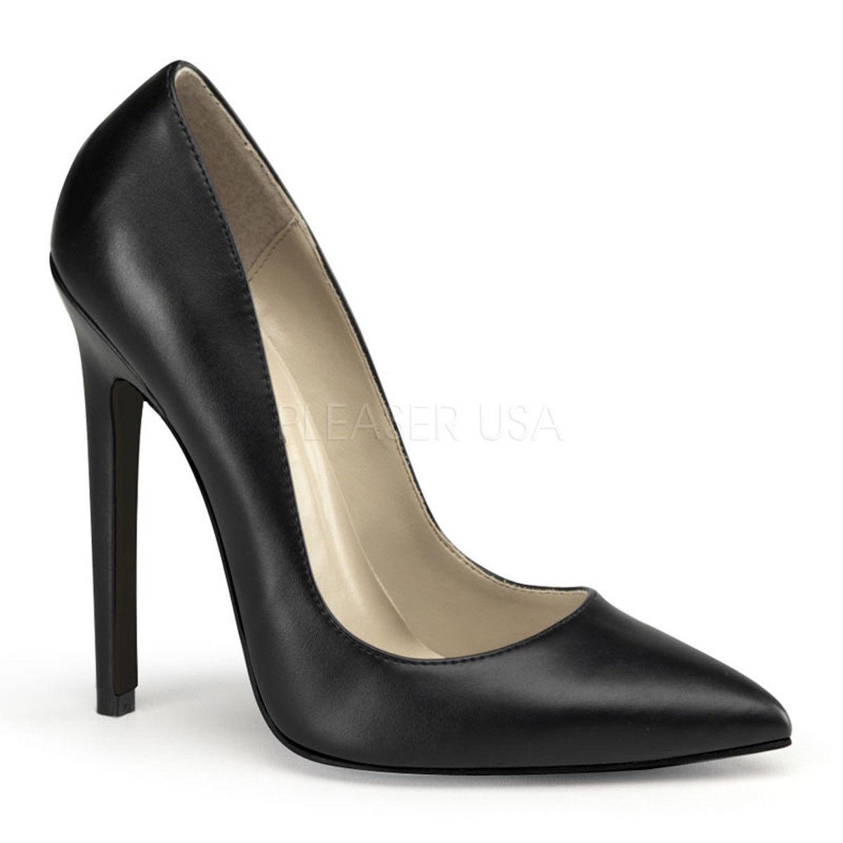 14 cm Sexy black Black faux leather UK7 40 fetish sky pumps sandals high heels