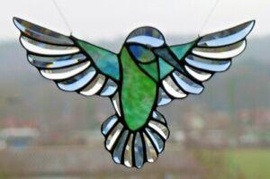 Bleiverglasung Facetten- Fensterbild Suncatcher Türkis- Kehl- Kolibri in Tiffany
