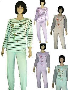 56//58 Hausanzug 36//38 leichter Damen Schlafanzug Pyjama lange Hose Gr.S -XXXL