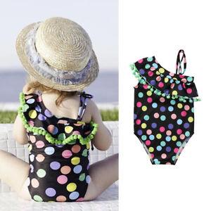 3d8fb2f638a85 Bébé Fille Enfants Pois Maillot de Bain Bikini Natation Combinaison ...