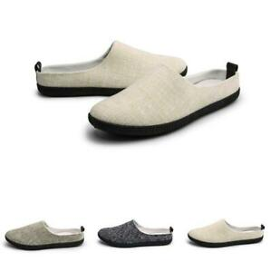 Mens Slip On Closed Toe Linen Flat Moccasins Outdoor Casual Walking Slippers New