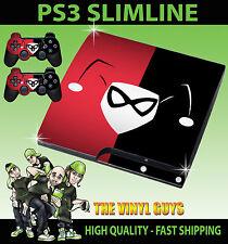 PLAYSTATION PS3 SLIM STICKER HARLEY QUINN LOGO RED BLACK BATMAN SKIN + PAD SKINS