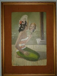 ORIGINAL SIGNED FRAMED OIL ON CANVAS ON WOOD PANEL POLYNESIAN BEAUTY MIRROR L@@K
