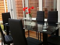 Dining Table And 6 Chairs Set Glass Top With Faux Leather Chair Modern Black