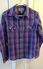 Wrangler Womens Western Fashion Purple Plaid Long Pearl Snap Sleeve Shirt Size M