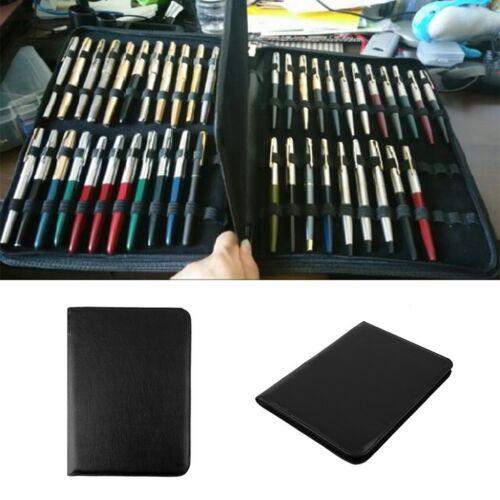 Fountain Pen//Roller Pen Black Color PU Leather Zipper Case for 48 Pens~a#