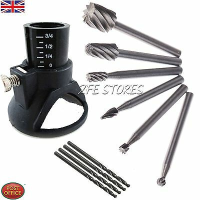 6xHSS Wood Milling Burrs 1Drill Carving Rotary Locator Set+Drill Bit,For Dremel