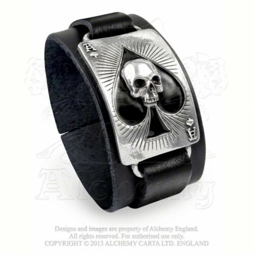 ALCHEMY ENGLAND Gothic Steampunk Bracelet LEATHER WRISTSTRAP Ace of Dead Spades