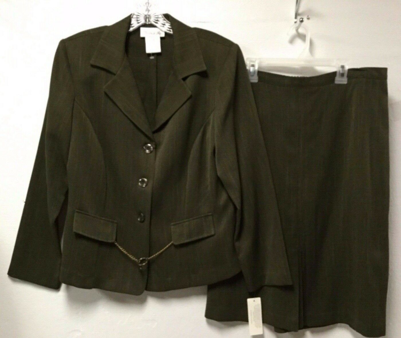 Womens Lightweight Skirt Suit Size 14 Dark Green 3-Button Pride & Joy New 27