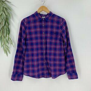 J-Crew-Womens-Button-Up-Plaid-Shirt-Size-Large-L-Blue-Long-Sleeve-Top-Woven