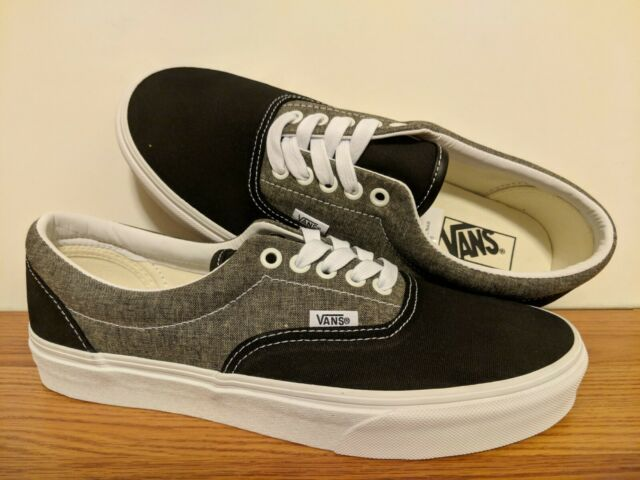fc1f1583 VANS Era Chambray Skate Shoes Canvas Black Gray White Sz 9 ( VN0A38FRVJ6 )