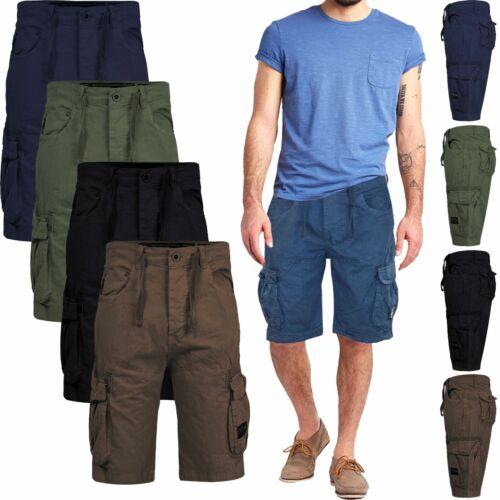 Crosshatch Men Combat Cargo Shorts Cotton Bermuda Twill Summer Knee Length Pant