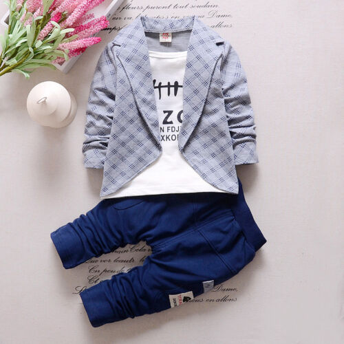 2PC Toddler Baby Boys Clothes Outfit Gentleman Boy Kids Coat Pants Suits Sets