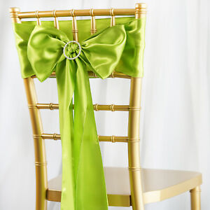 10 Sage Green Satin Chair Sashes Ties Bows Wedding Party Reception Decorations Ebay