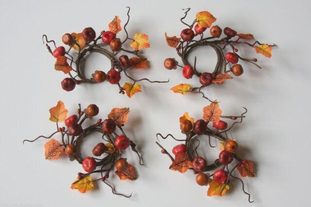 thanksgiving set of 4 rustic pumpkin napkin rings autumn twig