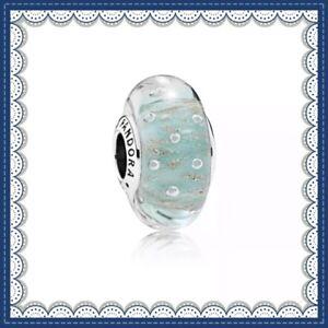 Pandora Mint Glitter Glass Murano Charm Bead Silver Ale S925 791669 New Fine Charms & Charm Bracelets