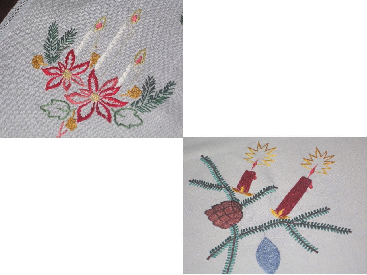 CHRISTMAS GLOW  VTG GERMAN LARGE TABLECLOTH + POINSETTIAS & rose RIBBONS RUNNER