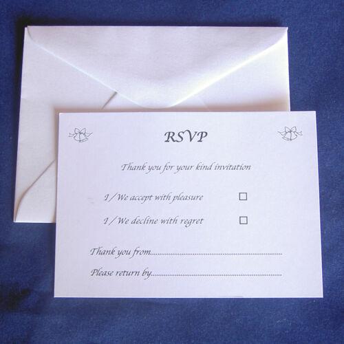 25 rsvp cartes /& enveloppes mariage anniversaire fiançailles taille A7 C7