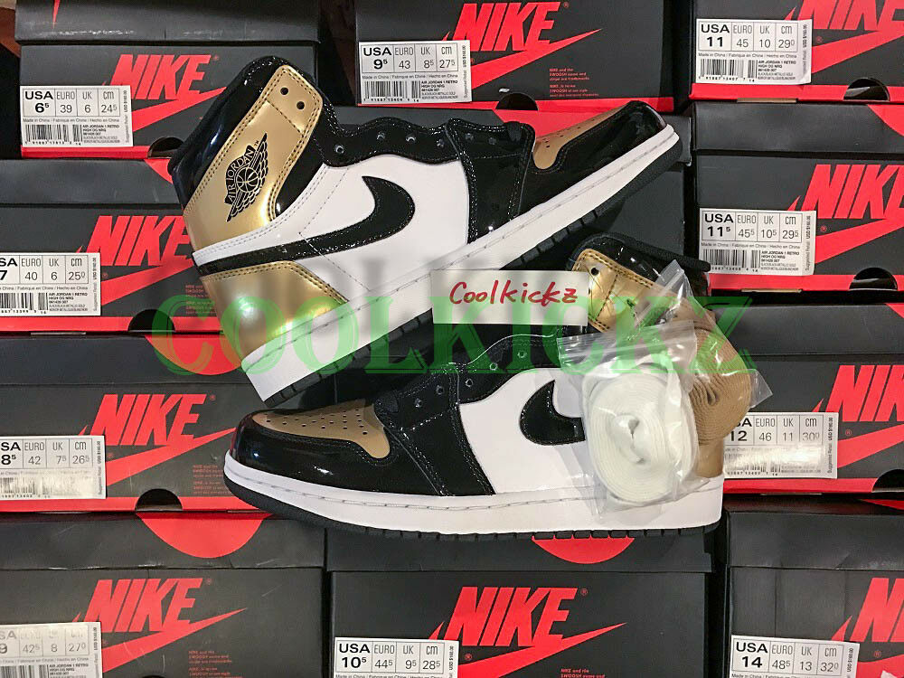SHIP NOW Nike Air Jordan 1 Retro High OG gold Toe 4-14 Black Metallic 861428-007