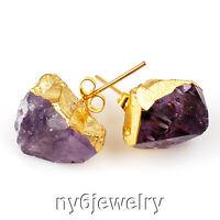 Beautiful Purple Amethyst Rough Stone Nugget Gold Plated Stud Earrings