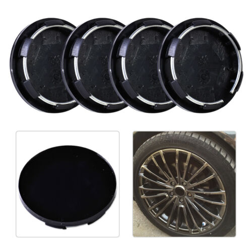 4XBlack Car Wheel Center Hub Cap Cover Set No Logo Universal 50mm fit forVW Ford