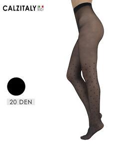 Collant-Tatuaggio-Calze-Velate-a-Pois-Effetto-Parigina-20-DEN-Made-in-Italy