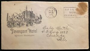 "1935 * Davenport Hotel * Spokane, Wash cover + ""Babe Ruth's"" Club de baseball! remarquable!"