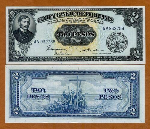 2 Pesos 1949 UNC Philippines P-134b ND