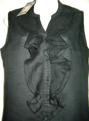 Linen Top Blouse Black Sleeveless Button Up V Neck Ruffles Mandarin Collar