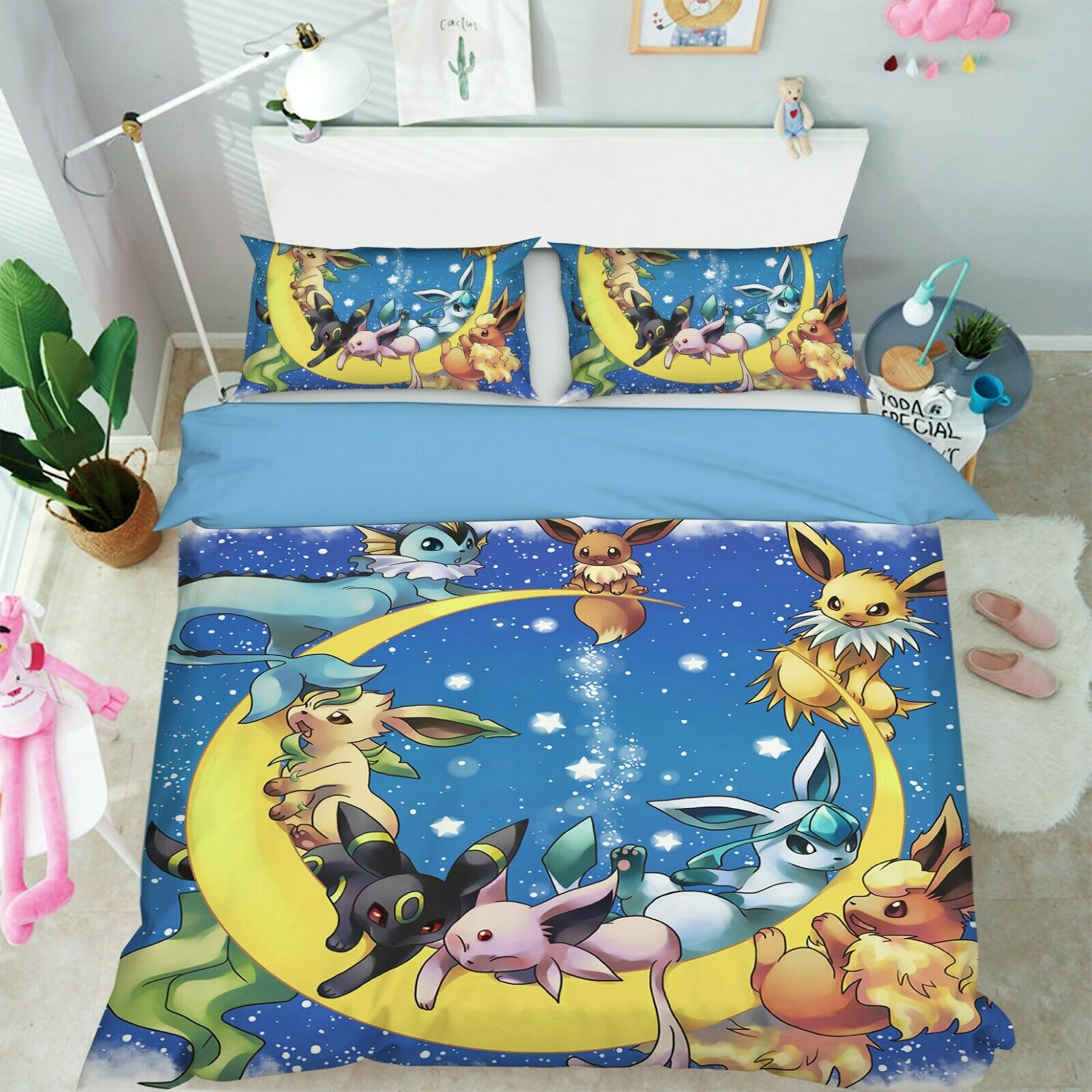 3D Pokemon gold Moon 2 Japan Anime Bed Pillowcases Quilt Duvet Cover Set Single