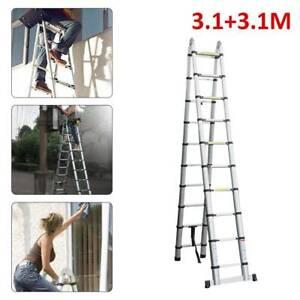 6.2m A Telescopic Ladder Extendable Multi-Purpose Aluminum Folding Steps Frame