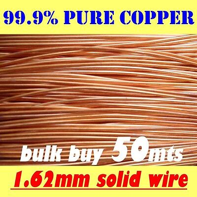 50 METRES SOLID BRIGHT 99.9% PURE COPPER WIRE, 1.62mm = 16G SWG = 14G AWG